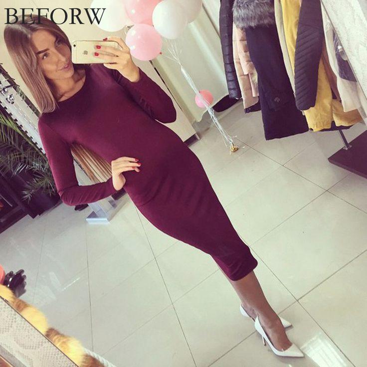 BEFORW Winter Autumn Dress Plus Size Cotton Long Sleeve Knee Length Dresses Fashion Gray Wine Red Vintage Bandage Maxi Dress