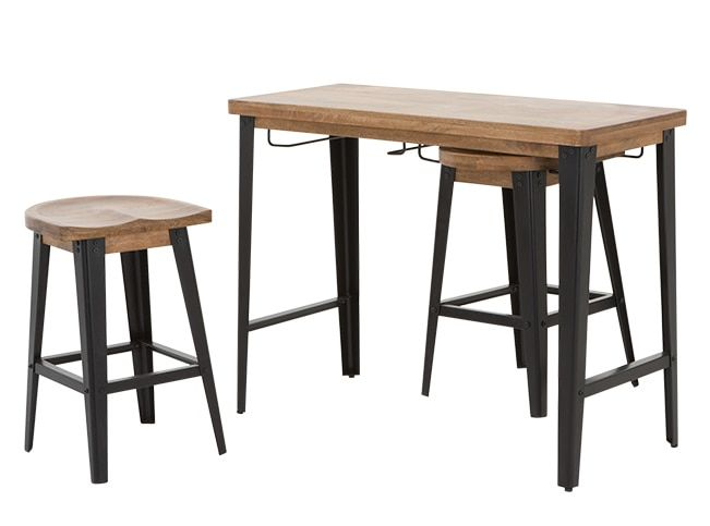 For kitchen?  Darby Bar Table and Stools Set, Mango Wood and Black
