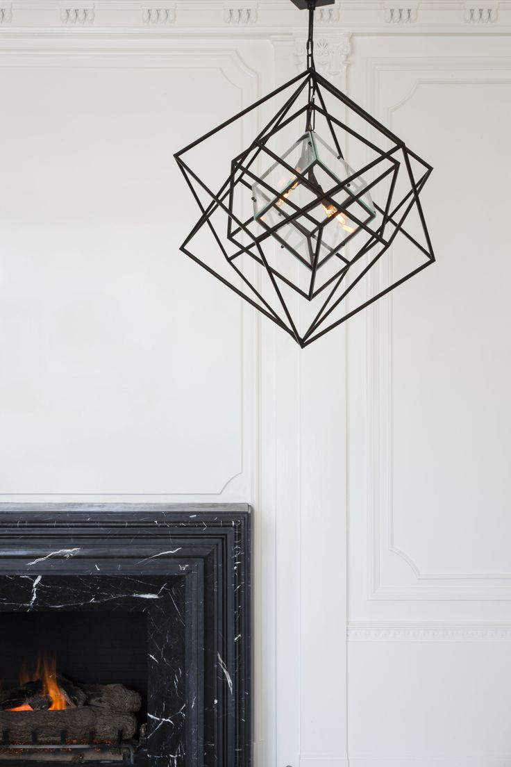 KELLY WEARSTLER | CUBIST SMALL CHANDELIER. Geometric lighting available in Aged Iron and Gild.