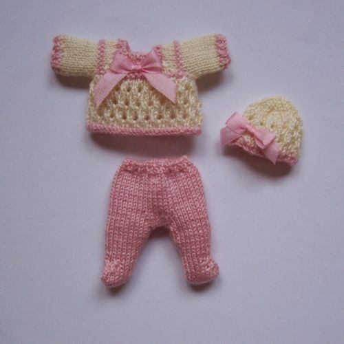 Knitting Patterns Small Dolls Clothes : OOAK Handmade knitted outfit for miniature baby doll #RB215