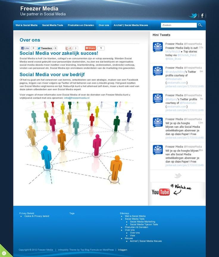 Social Media voor zakelijk succes!  Social Media is hot! Uw klanten, collega's en concurrenten zijn er volop aanwezig. Werden Social Media eerst vooral gebruikt voor persoonlijke doeleinden, nu zien we dat bedrijven en organisaties social media steeds meer inzetten voor branding, klantenbinding, onderzoeken, (indirecte) verkoop, vinden van personeel etc. Social Media zijn onmisbare onderdelen van de marketing mix geworden.  Wil je meer weten: info@freezermedia.nl