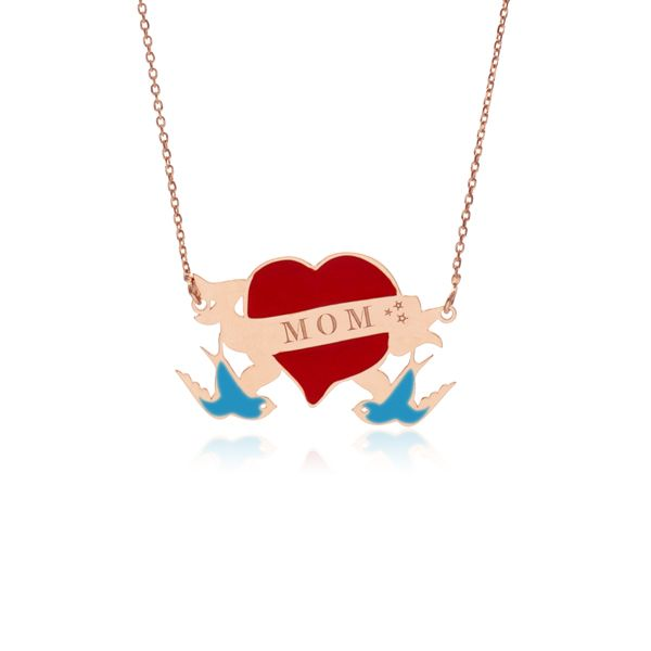 #lesetoilesdelily #jewels #necklace #oldshool #tattoo #heart #mom #swallows #silver #gold #pink #fashion #bijoux #collier #tatouage #coeur #maman #hirondelles #argent #or #rose #emaille #mode #marseille