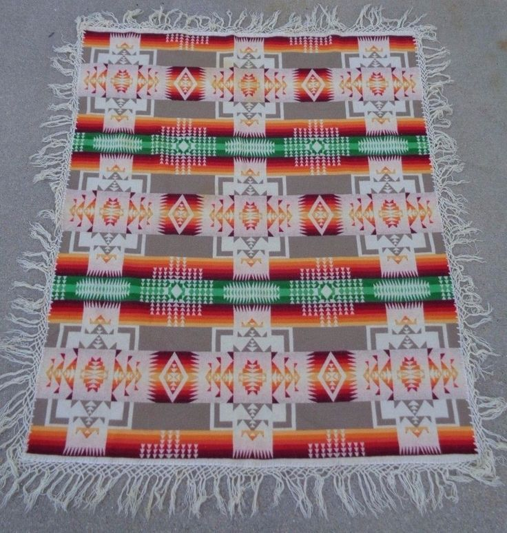 Vintage Beaver State Pendleton Wool Blanket 66x55 Southwestern GUC