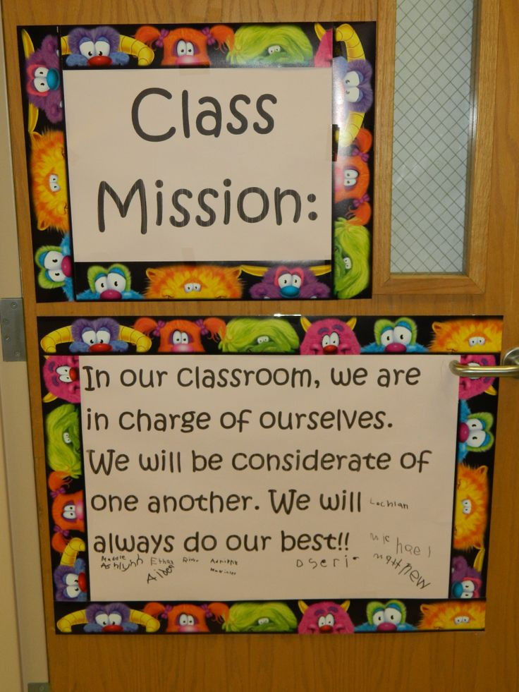 The 7 Habits class mission statement in a lower grades classroom.