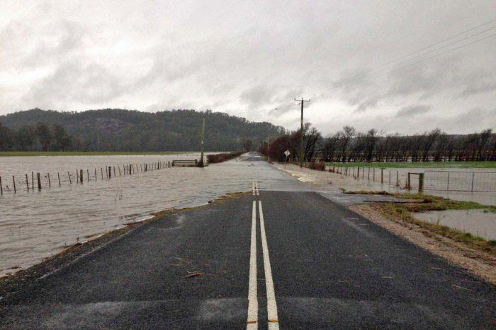 Water across a road near Deloraine
