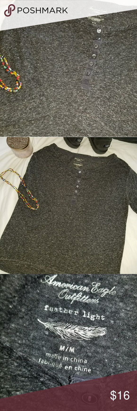 American Eagle Outfitters | Long Sleeved T-shirt ☆ American Eagle Outfitters ☆ Dark gray ☆ Scoop neck with buttons ☆ Long sleeves American Eagle Outfitters Tops Tees - Long Sleeve