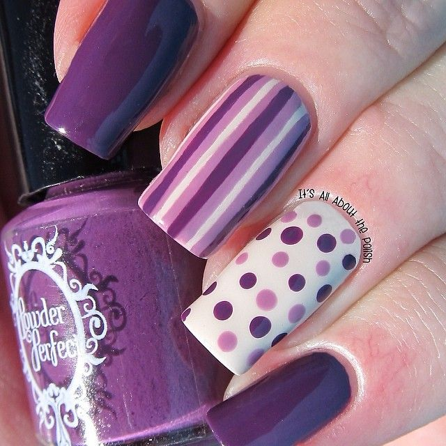 Stripes. Polka dots. Purple nails. Nail art. Nail design. Polishes.  Instagram by itsallaboutpolish