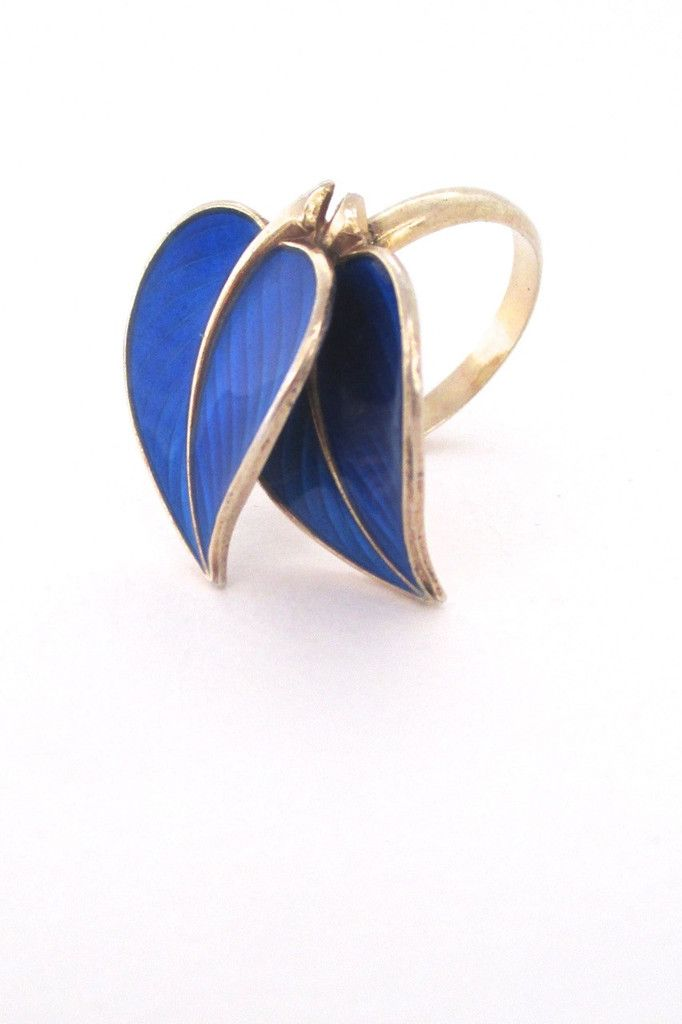 Hans Myhre, Norway - cobalt blue sterling and enamel double leaf ring - this popular design is difficult to find as a ring #enamel #Norway #ring