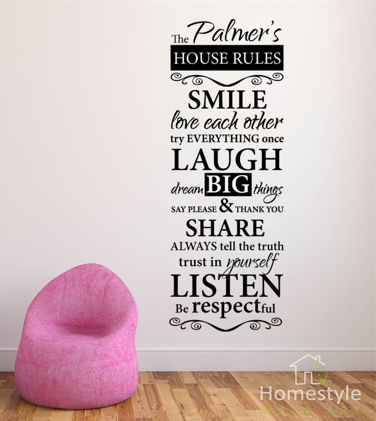 HOUSE RULES PERSONALISED WALL ART Part 53