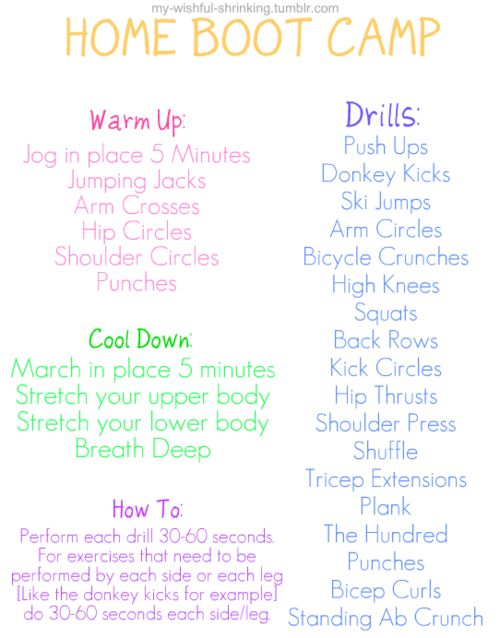 Gonna try this next weekFitness Plan, Boot Camp Workout Ideas, Boots Camps, In Door Workout Motivation, At Home Workouts, Workout Plans, Bootcamp Workout Plan, Bootcamp Drills, Booty Camps