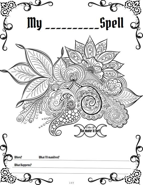 Wheel Of The Year Book Of Shadows Wiccan Sabbats Grimoire Pages 171 Printable Coloring Sheets Vol 1 Mandala Coloring Book Of Shadows Mandala Coloring Pages