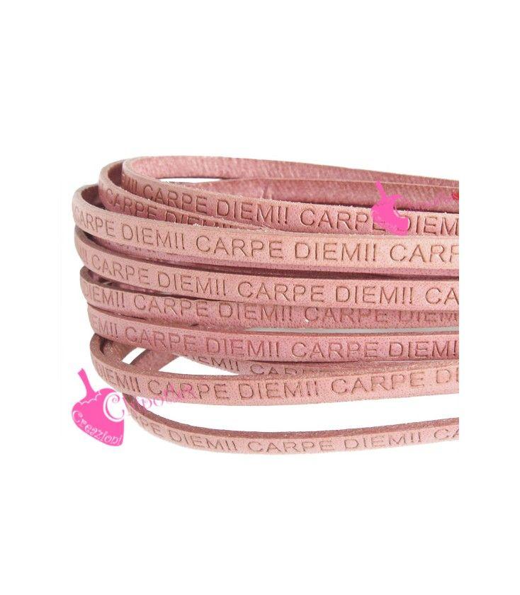 Cordoncino Pelle 5 mm con Scritta Carpe Diem colore Rosa