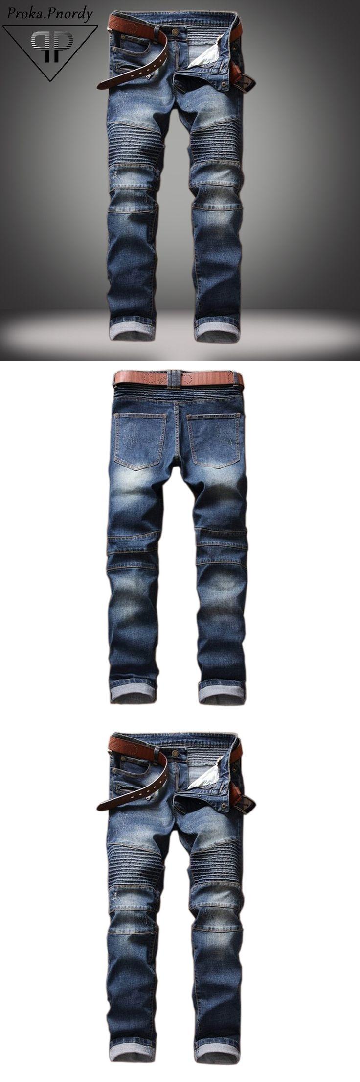 2017 Proka Pnordy Men's Classic Jeans Knee Drape Panel Moto Biker Jeans Men Skinny Slim Jeans Male Hip Hop Denim Jeans Homme