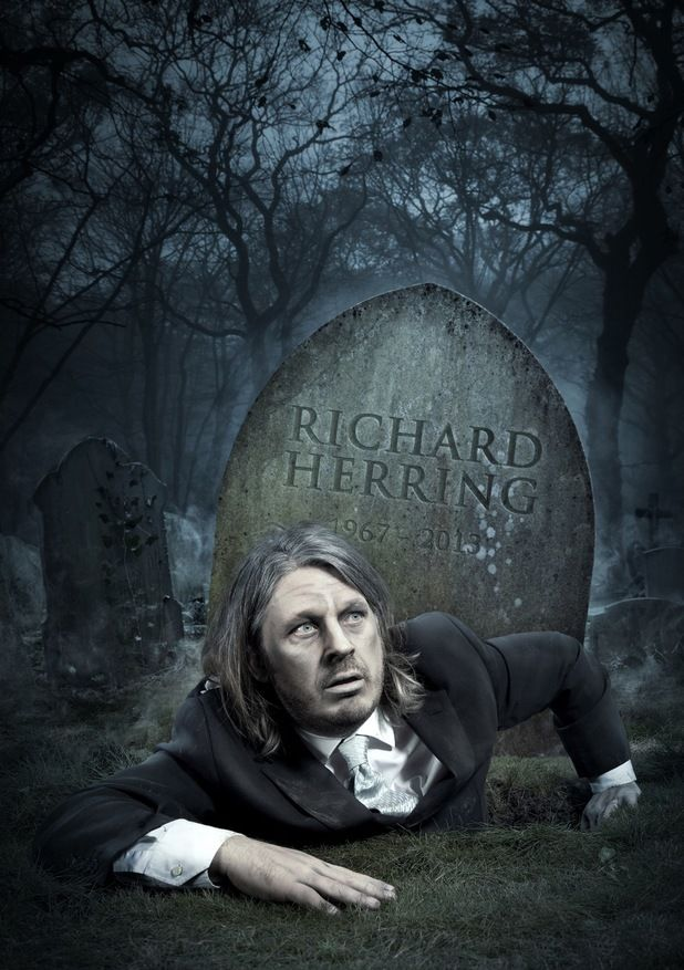 richard herring die BTS: Comedian Richard Herrings Creepily Dark Comedy Poster Shoot