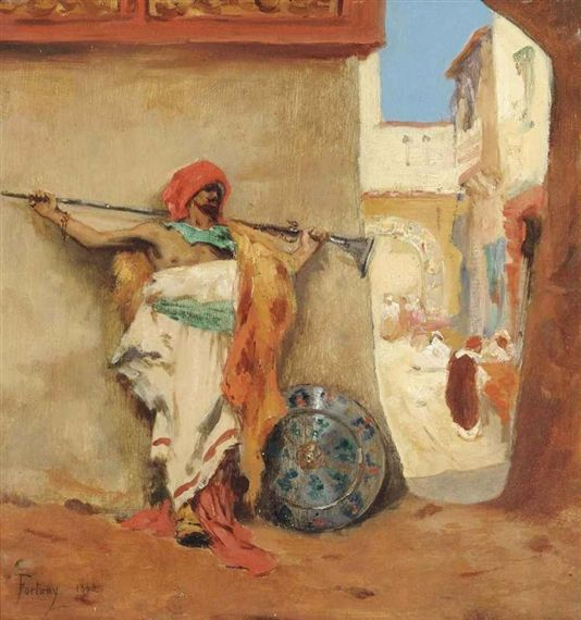 Mariano Fortuny Marsal - An Arab warrior in the souk, oil on panel, 1862.