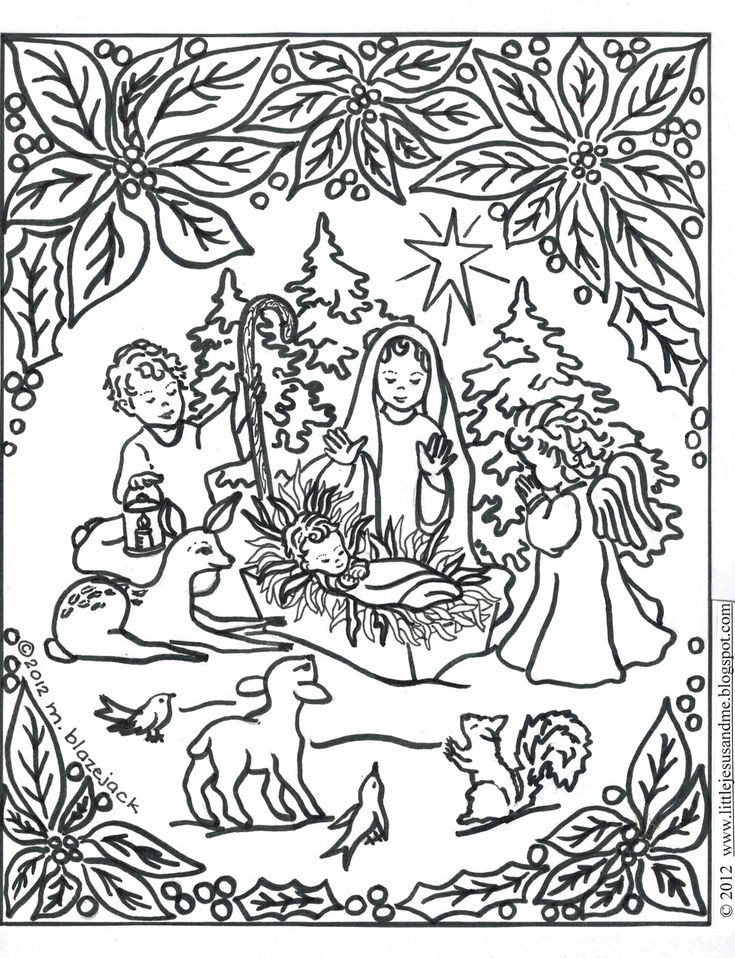 Prayer To The Infant Jesus And Nativity Coloring Page