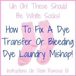 Instructions for removing dye transfers or bleeding colors when your load of whites turned pink from a stray red sock!
