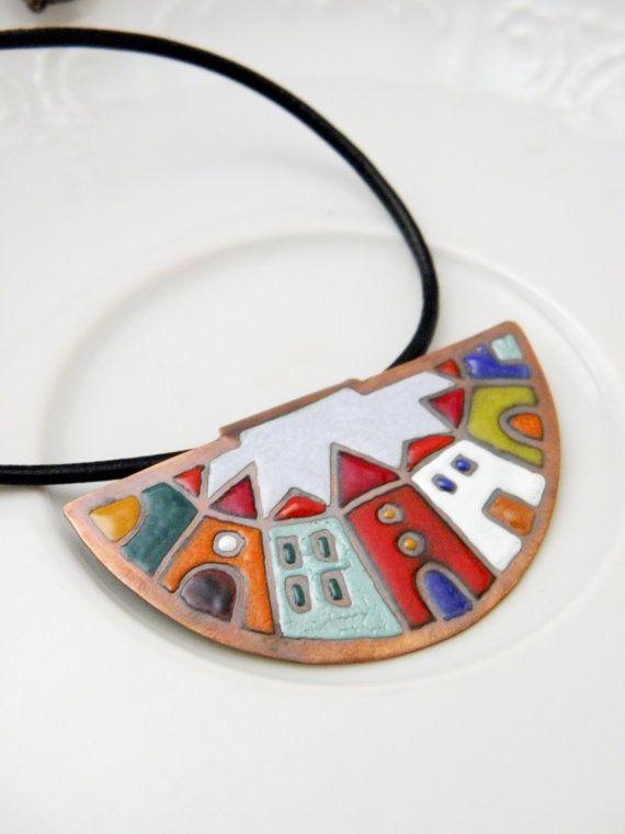 Hundertwasser  enamel necklace  colorful  house  town