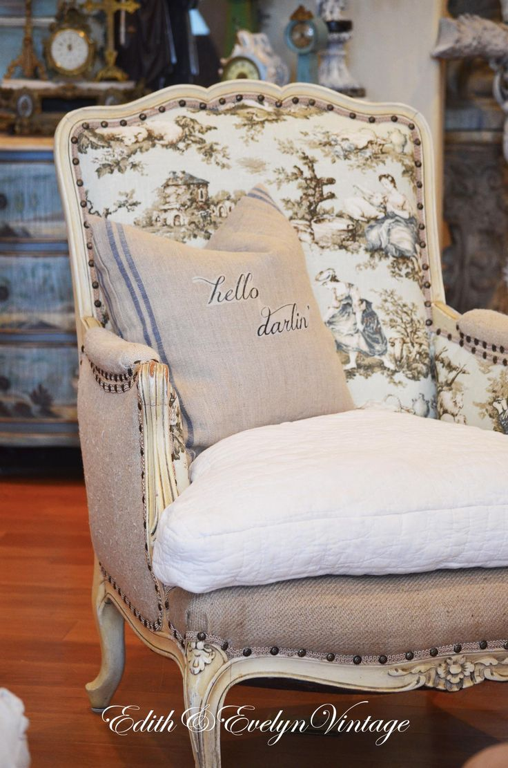 French bergere chair reupholstered in antique grain sack, burlap and toile…