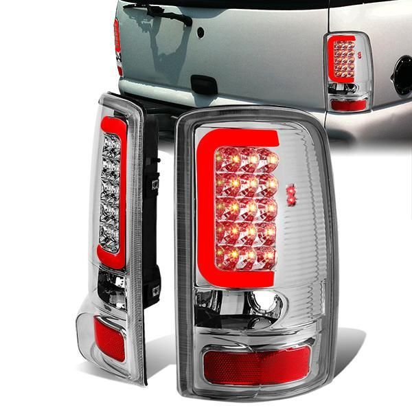 00 06 Gmc Yukon Xl Chevy Suburban 1500 2500 Tahoe Led Red C Bar Tail Lights Chrome Tail Light Chevy Suburban Gmc Yukon