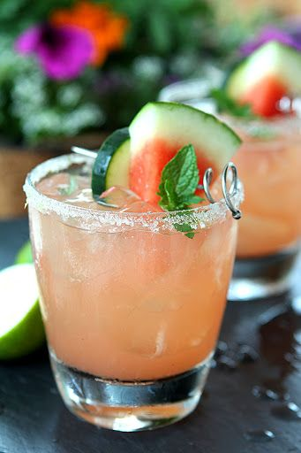 The Firecracker - Watermelon, Lime And Cucumber Cocktail With Cucumber Vodka, Seedless Watermelon, Lime, Simple Syrup, Lime, Watermelon, Cucumber, Mint Sprigs