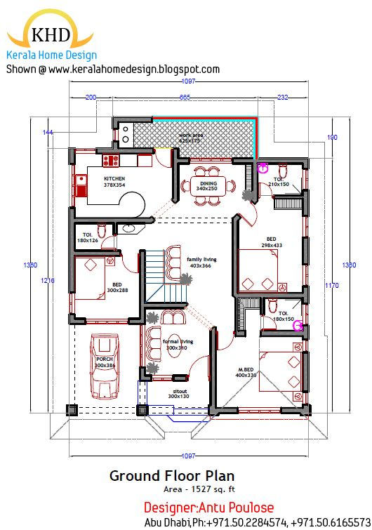 Home plan and elevation 1800 Sq. Ft Kerala home design and