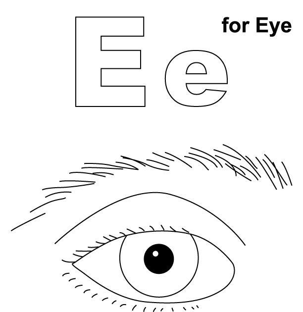 E For Eye Coloring Page With Handwriting Practice Coloring Pages Parts Of The Eye In 2020 Kindergarten Colors Kindergarten Coloring Pages Preschool Color Activities
