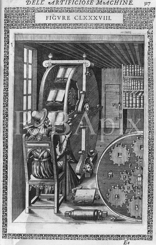 Before laptops and kindles there was the Reading Machine (comfortably situated near a window for light). KR (Agostino Ramelli, 'Le diverse et artificiose machine', Paris, 1588) [RIBA10219]