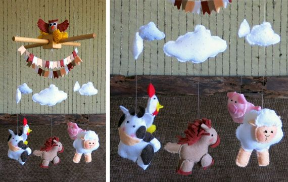 Baby Mobile Nursery Farm Animals Crib Mobile  by NchantedGifts