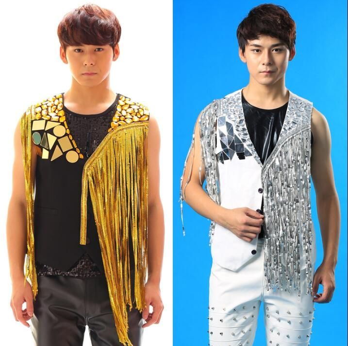 Original men tassel vest costume clothing camiseta tirantes hombre personalized singer dance stage street star style dress