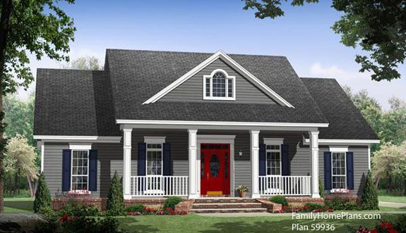 open front porch on small country house plan 59936 by familyhomeplans.com