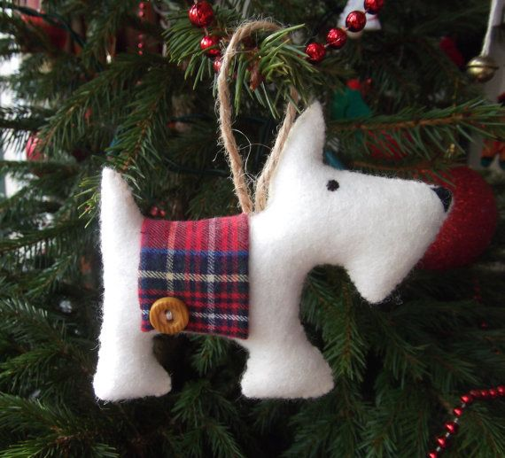 Hanging Scottie Dog Cream  Christmas Tree Decoration by FizzyFelt, £4.00