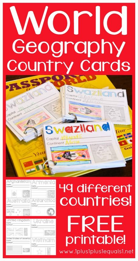 If you are studying world geography then don't miss these FREE World Geography printable Cards. Each card includes the name of the country, a place to fill