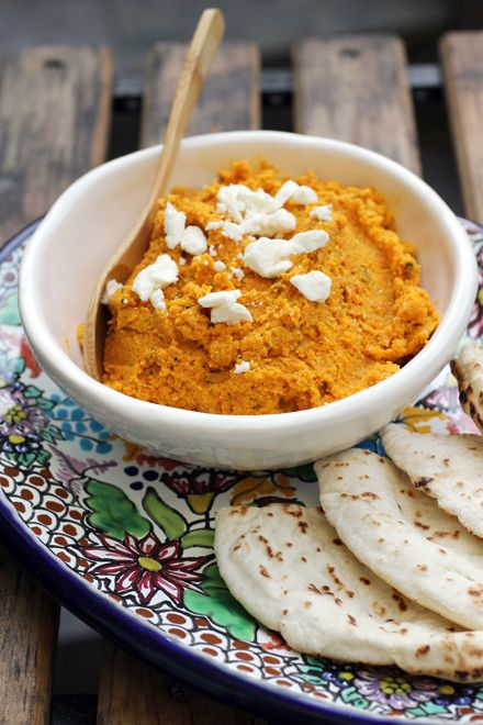 Roasted carrot dip -- a healthier way to nosh while watching all those football games on TV.