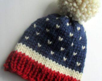 Artículos similares a Sombrero del Knit del punto justo de isla sombrero, sombrero rojo blanco azul Feria isla sombrero, Estados Unidos, las mujeres, los hombres de punto sombrero, sombrero del invierno, Estados Unidos Bandera de punto sombrero, sombrero de punto grueso en Etsy