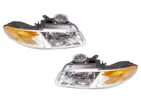 1996-1999 Plymouth Voyager/Caravan/Town&Country 4-Piece Halogen Headlights Set w/Clear Corners and Xenon… #CarHeadlights #AutoHeadlights