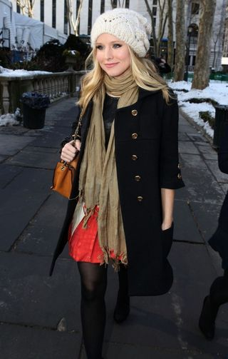 Kristen bell,style, warm clothing, knit hat, beret, coat