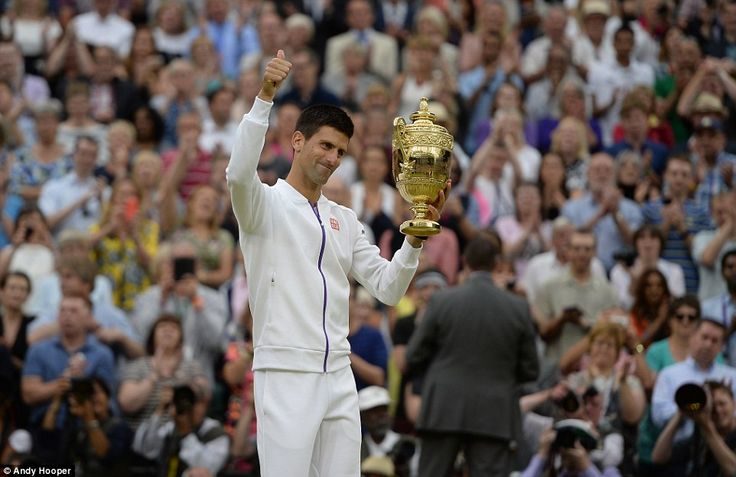 The Serb was all smiles as he gave a thumbs up to the Centre Court crowd who applauded him for his success