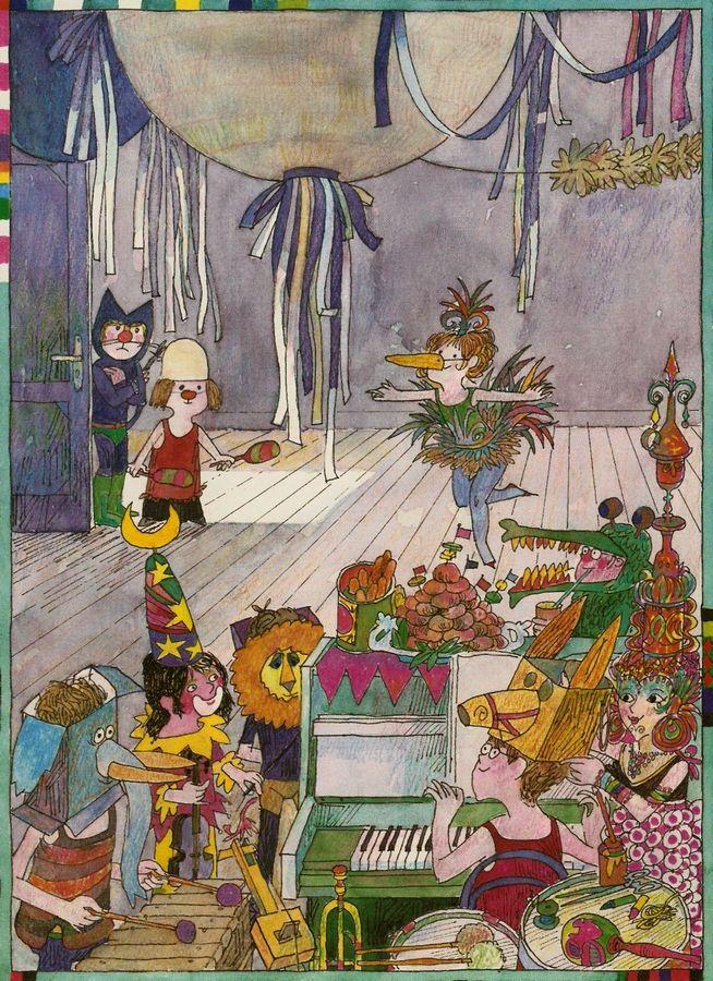 """Schoolbook illustration by Manfred Limmroth. Source: """"Kempowskis einfache Fibel - Illustriert von Limmroth, 1980, Westermann Verlag; Tags: #Manfred #Limmroth #Schoolbook #Schulbuch #Fibel #Kinder #Child #Illustration"""