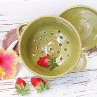 Olive green berry bowl colander ceramic kitchen strainer handmade