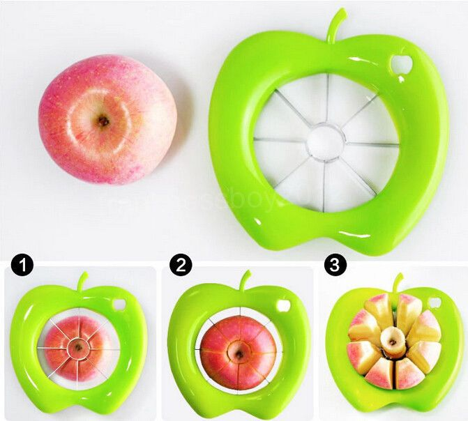 Swift Kitchen Fruit Apple Pear Corer Slicer Wedger Divider Cutter Cut Pie Dicing 100% Brand NewMaterial: ABS resin + stainless steelDimensions:14cm x 14cmInner diameter: 9cmThe corer slicer fruit knife cores and slices the apple into sections...