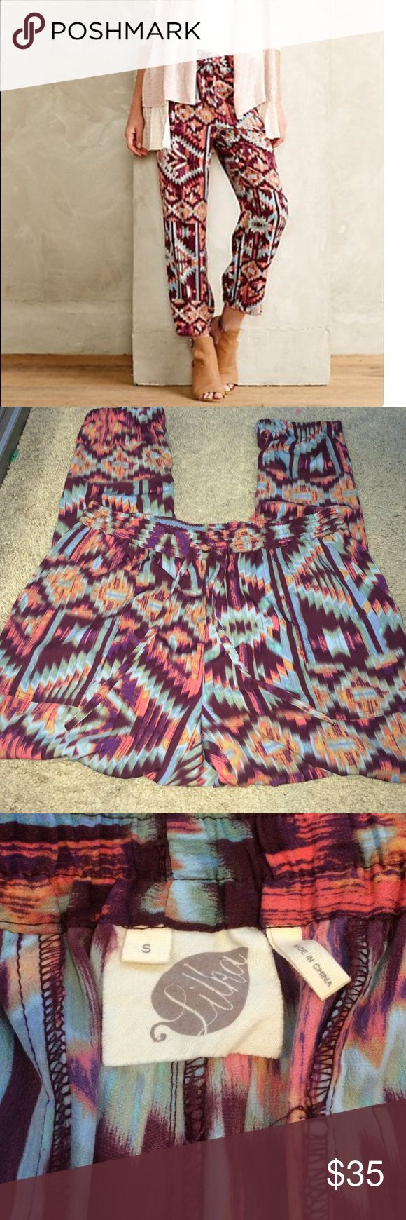 Anthropologie Aztec print Pants Loose at top and ankles are bunched, not sold anymore! Pretty print and colors Anthropologie Pants Ankle & Cropped