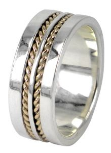 Separated Twist wedding ring in sterling silver and 9ct yellow gold