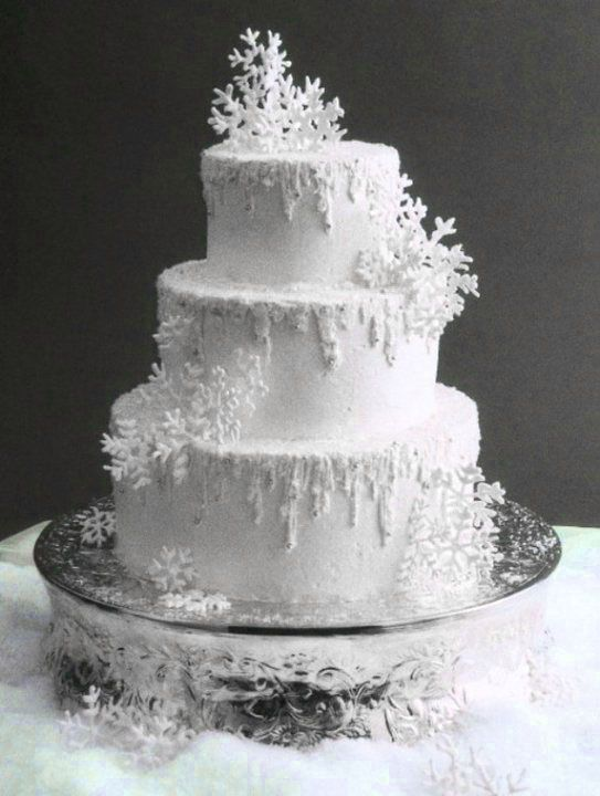 Snowflake Winter Wedding Cake Snow Ice Theme Silver And White Ideas Inspiration