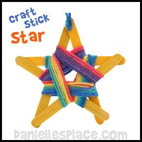 Craft Stick Star with Yarn Craft from www.daniellesplace.com