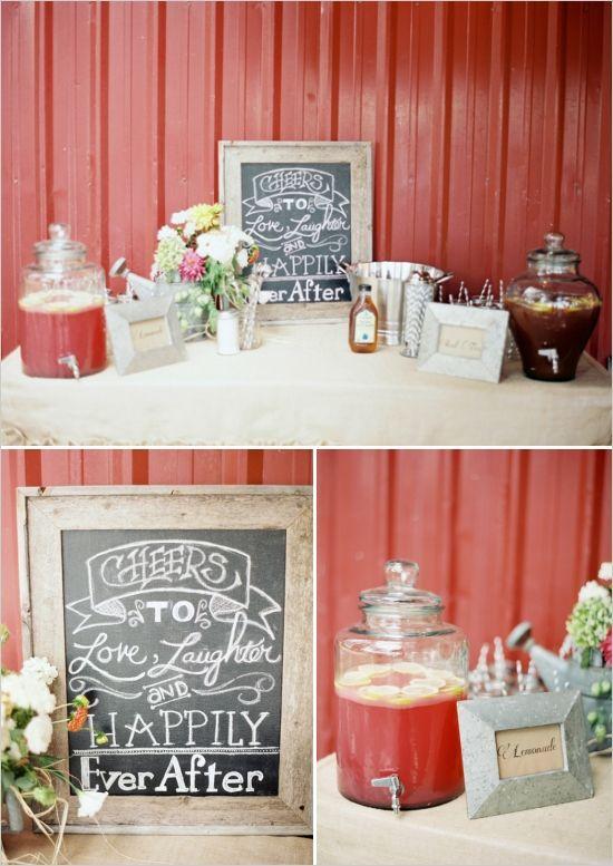 wedding drink table ideas #farmwedding #drinkstation #weddingchicks http://www.weddingchicks.com/2014/01/13/summertime-country-wedding/