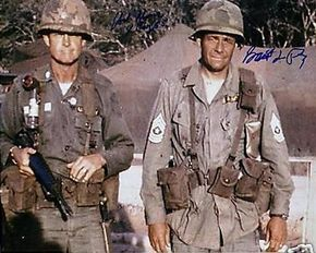 """1965: Lt. Col. Hal Moore and CSM Basil Plumley. These two brave leaders of soldiers were portrayed in the film """"We Were Soldiers"""" by Mel Gibson and Sam Elliott, respectively."""