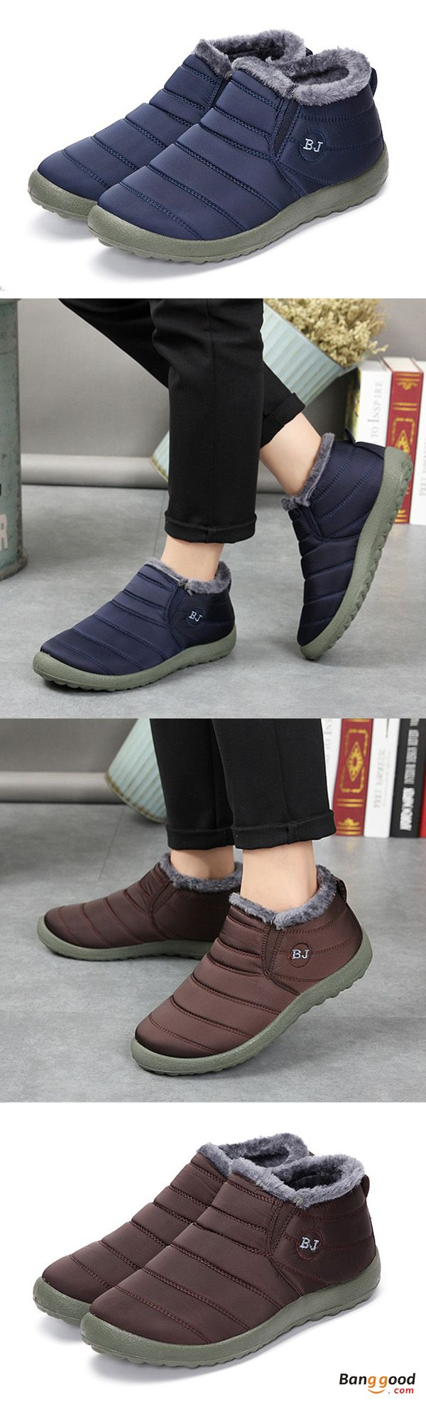 Men Winter Cotton Shoes Fur Lining Keep Warm Casual Outdoor Snow Boots. Mens fashion, mens shoes, mens boots, mens winter outfits. Casual, Slip-On, Fur Lining, suitable for indoor and outdoor activities on multi occasions. Get the look!