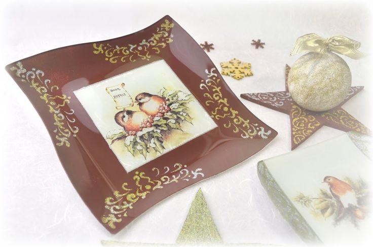 Csillogó karácsonyi tányér // Pentart.hu
