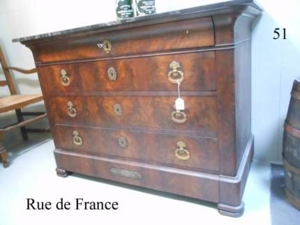 ANTIQUE FRENCH LOUIS PHILIPPE CHEST OF DRAWERS MARBLE BRONZE MOUNTS
